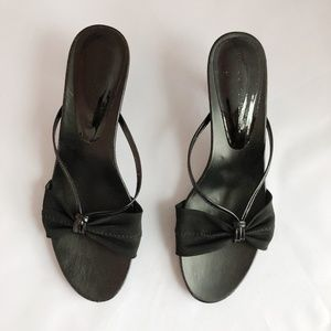 Donald Pliner Black Kitten-Heel Slide Sandals 7.5